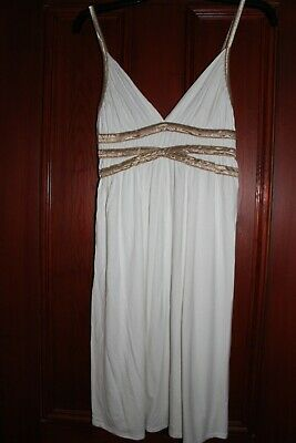 Ladies Cream And Gold Grecian Dress Size 12 • 1.50£