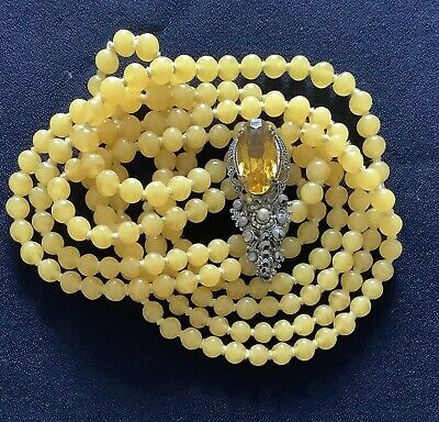 Vintage Art Deco Yellow Glass Knotted Beads & Czech Filigree Dress Clip C1930's • 14.75£