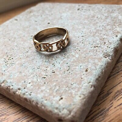 Vintage 9ct Gold Celtic Knot Ring Band Hallmarked Size P 2.33 Gms • 85£