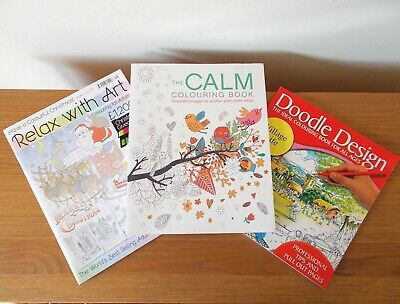 3 Colouring Books - Calm Colouring - Relax With Art #9 - Doodle Design  Village  • 6£
