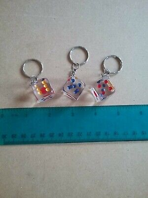 Clear Dice Keyrings X3 New • 2£