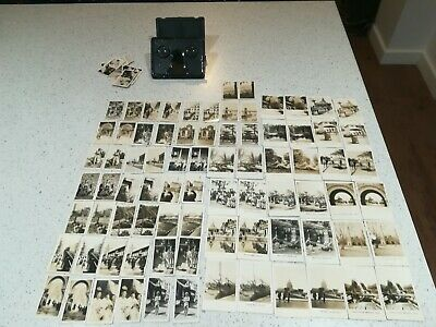 Stereoscopic 3D Viewer & 40 Pairs 3D Cigarette Cards~Peeps Into Many Lands +10 • 18£