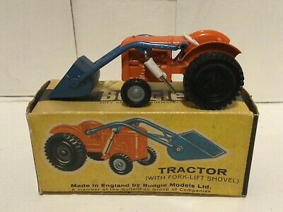 Budgie Toys 306 Tractor In Orange With Blue Shovel - BOXED - RARE • 26.53£