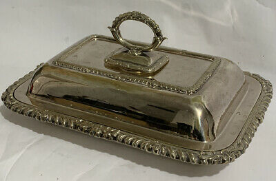 Antique Rectangle Hawksworth Eyre & Co Silver Plated Entree Serving Dish Tureen • 30£