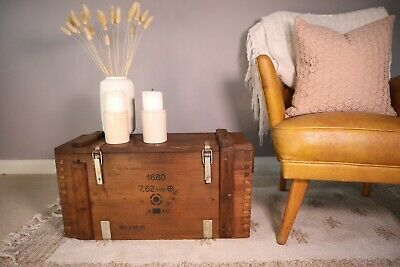 Old PINE CHEST, Wooden Blanket TRUNK, Coffee TABLE, Vintage Storage BOX • 38£