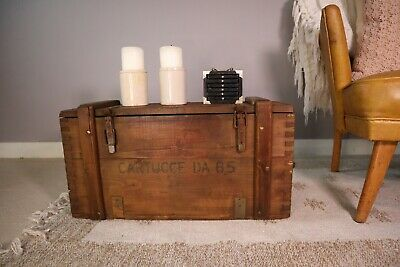 Old PINE CHEST, Wooden Blanket TRUNK, Coffee TABLE, Vintage Storage BOX • 17£