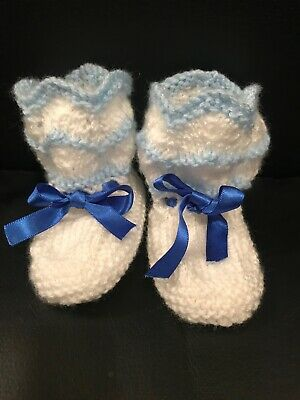 Knitted Baby Boots Booties Shoes 3 -12 Months UK Handmade Blue And White • 4.99£