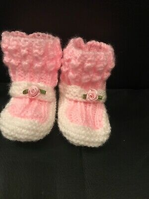 Knitted Baby MARY JANE  Booties Shoes 0 -3 Months UK Handmade PINK And White • 4.99£