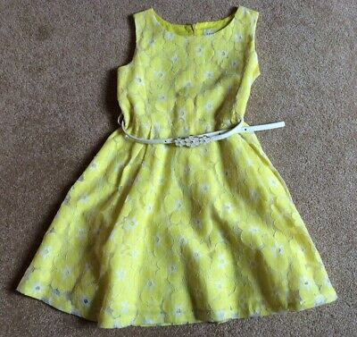 Yumi Girls Yellow Floral Lace Party Dress With Belt Age 5-6 Yrs 116cm VGC • 5.99£