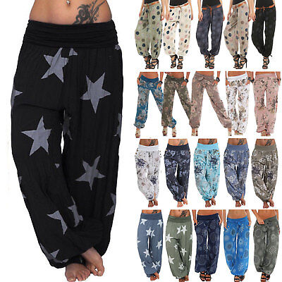 AU17.99 • Buy Baggy Gypsy Harem Pants Yoga Boho Womens Casual Floral Loose Travel Oversized