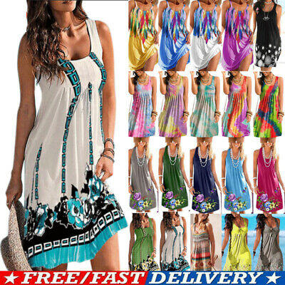 AU21.08 • Buy Women BOHO Summer Beach Strappy Tank Dress Sleeveless Casual Sundress PLUS SIZE