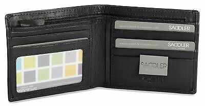 SADDLER Mens Genuine Leather 3 Section 5 Card Billfold Wallet With Tab & ID W... • 46.03£
