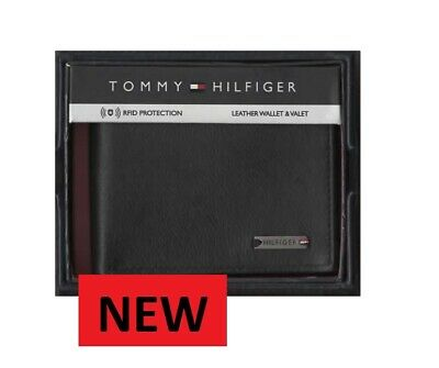 Authentic Tommy Hilfiger Black Bi-fold Men's Leather Wallet New Free Uk.shipping • 32.99£