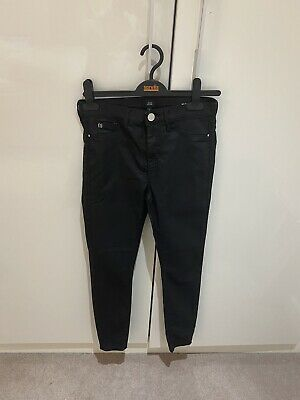 River Island Ladies Molly Coated Faux Leather Black Jeans • 6£