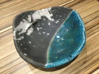 Studio Art Pottery Teal Blue Bowl Dish, Potter Brian Andrew Star Fish Raku Fired • 10£