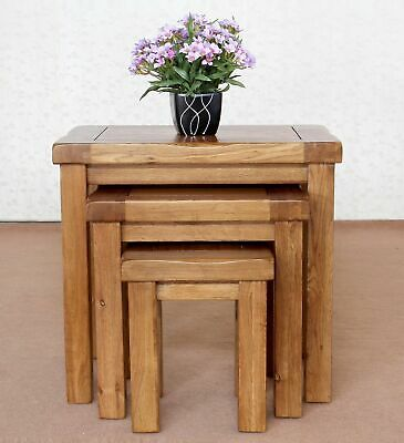 Original Solid OAK Nest Of 3 Tables Rustic Solid Oak Nest Of Tables R • 107.95£