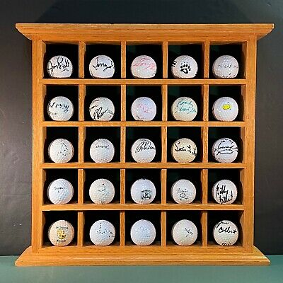 25 Golf Ball Collection: Display Solid Oak Rack Wall Hung Or Free Standing • 30.39£