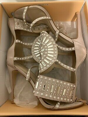 Public Desire Nude Pearl & Diamond Embellished High Heels Shoes Size 8 In Box • 2.99£