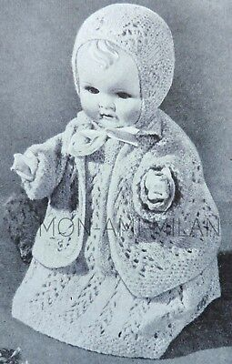 Baby Dolls Clothes 12 Inch, 20s-30s Knitting/Crochet Pattern Copy, Lacy Layette • 2.99£