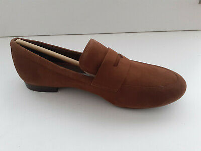 £7.99 • Buy Rockport Womens Tavia Penny Tan Brown Suede Flats Loafers Moccasins Ch2574