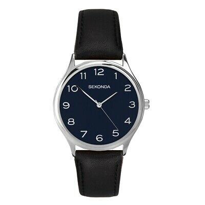 £20 • Buy Sekonda Mens Classic Watch With Midnight Blue Dial And Black Leather Strap 1852