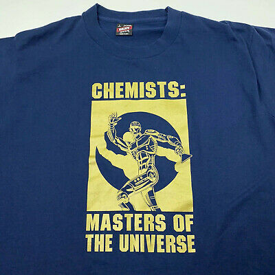 $50 • Buy VTG 80s 90s Blue Gold Chemists Masters Of The Universe Single Stitch Tee - Large