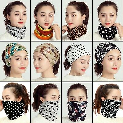 Womens Snood Face Covering Mask Ladies Multifunction Ring Neck Scarf Head Band • 3.99£