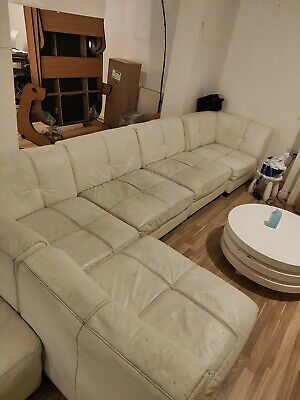 White 7-seater Modular Leather Sofa (+ Foot Rest) From DFS, Used Condition • 1.20£