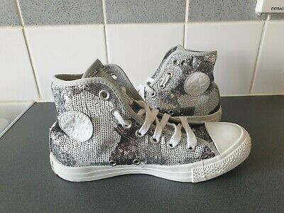 Unisex Silver Sequin Converse All Star Size 4 • 17£