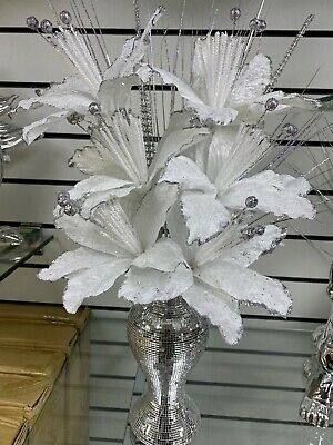 26cm Silver Mirror Shine Mosaic Vase With 6 White And Silver Flowers • 25.99£