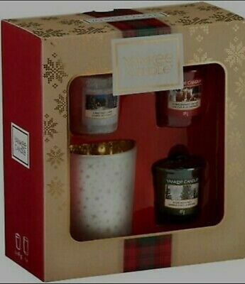 Yankee Candle Gift Set With 3 Scented Votive Candles And 1 Votive Holder • 13.99£