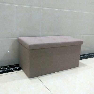 Large Ottoman Foldable Storage Box Linen Suede Foot Stool Seat Furniture Beige • 17.59£