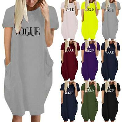 AU26.50 • Buy Women Letter Printed Short Sleeve T-Shirt Dress Baggy Casual Kaftan Tunic Tops