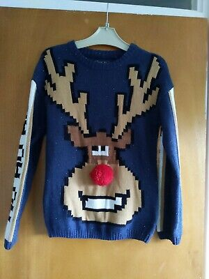 Next Boys Age 8 Years Rudolph Xmas Jumper With Pom Pom Nose 🦌 • 4.99£
