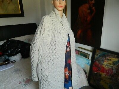 Ladies Hand Knitted Irish Aran Long cardigan Size Xl Excellent Condition • 36£