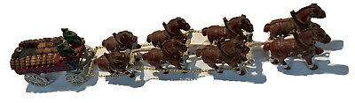 $ CDN127.05 • Buy Vintage Cast Iron Clydesdale Display Wagon Horses Wood Barrels Dog Bud Style