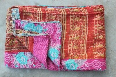 Indian Handmade Vintage Cotton Kantha Quilt Blanket Twin Bedspread Throw VH-874  • 24.99£