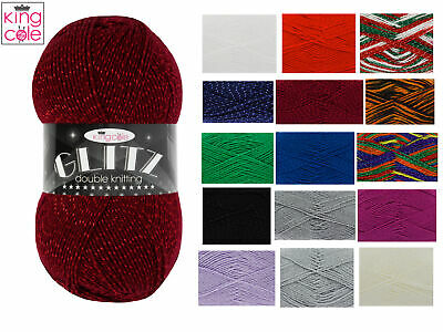 King Cole Glitz DK Double Knit Wool Acrylic Knitting Yarn 100g - All Colours • 3.49£