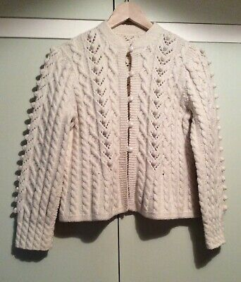 Hand Knitted Aran Cardigan.Size S/M, Cream/Ivory Wool, Cable & Bobble Stitch. • 39.95£