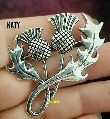 £4.60 • Buy Silver Tone Vintage Style Thistle Flower Brooch Pin Gift Scottish Celtic Broach