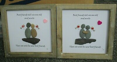 Pebble Art Handmade Picture 'Best Friend Old And Senile' Box Frame Gift Present • 17£