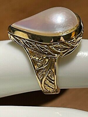 $799 • Buy Estate 18k Yellow Gold Pear Shaped Mabe' Pearl Ring