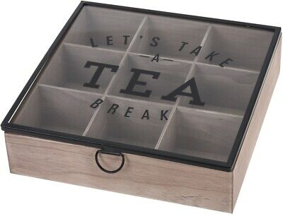 Wooden Tea Box With Glass Lid 9 Compartment Section Bag Storage Organiser Chest • 11.99£