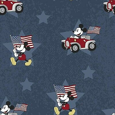 Patriotic Fabric - Disney Mickey Mouse Flag & Cars On Blue - Springs YARD • 7.91£