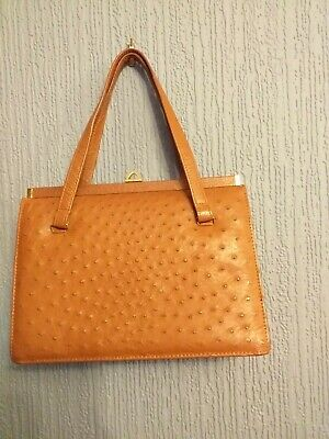 Vintage Leather Soft Ostrich Skin Hand Bag By Corbeau.  Beautiful Condition. Tan • 20£
