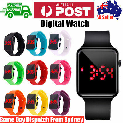 AU7.85 • Buy Men Women Kids Sport Digital LED Silicone Watch Gift Bracelet Square Dial Wrist