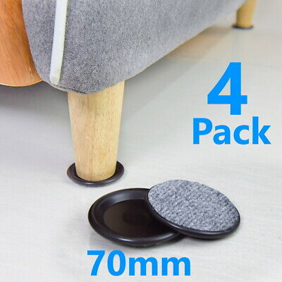 £1.99 • Buy 4 X Large 70mm Black Padded Castor Cups Floor Carpet Chair Furniture Protectors