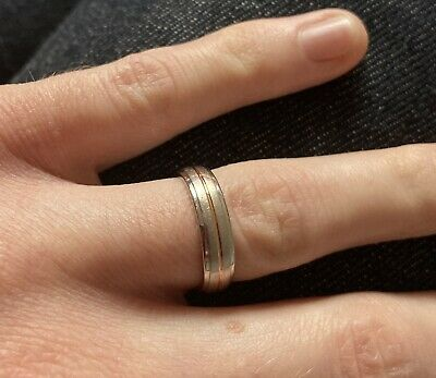 9ct White/Rose Gold 5mm Brushed/Polished/Grooved Ring- Reduced To Sell! • 80£