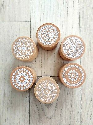 £1.50 • Buy Brand New Set Of 6 Floral Pattern Round Rubber Stamps Wedding Craft Pretty