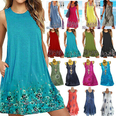 AU13.77 • Buy Women Boho Summer Beach Midi Dress Ladies Sleeveless Holiday Sundress Plus Size